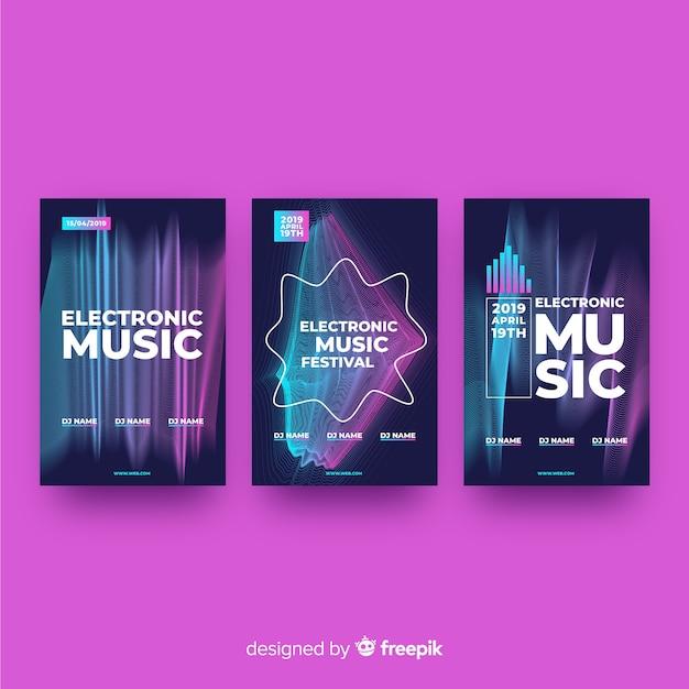 Wave sound elektronische musikplakat Kostenlosen Vektoren