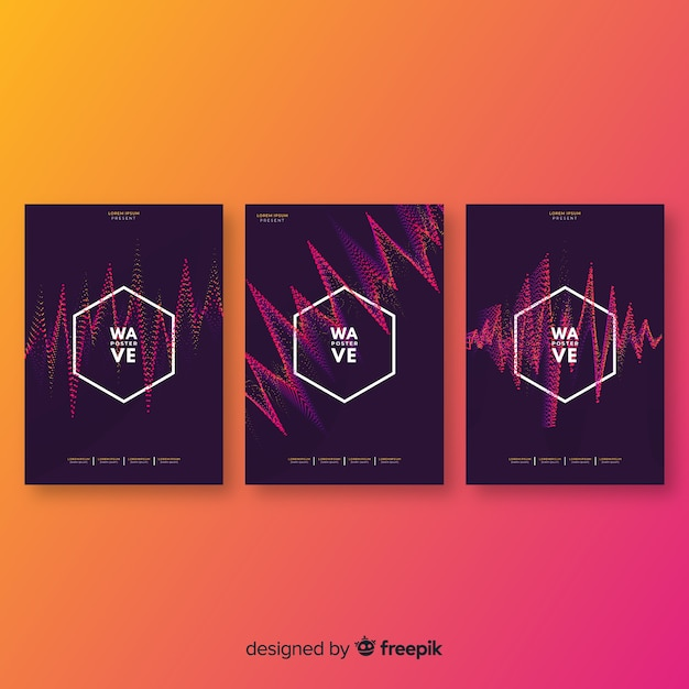 Wave-sound-sammlung für elektronische musik Kostenlosen Vektoren