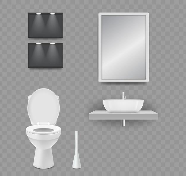 Wc-raum. realistische toilette, waschbecken und spiegel lokalisiert auf transparentem hintergrund. Premium Vektoren