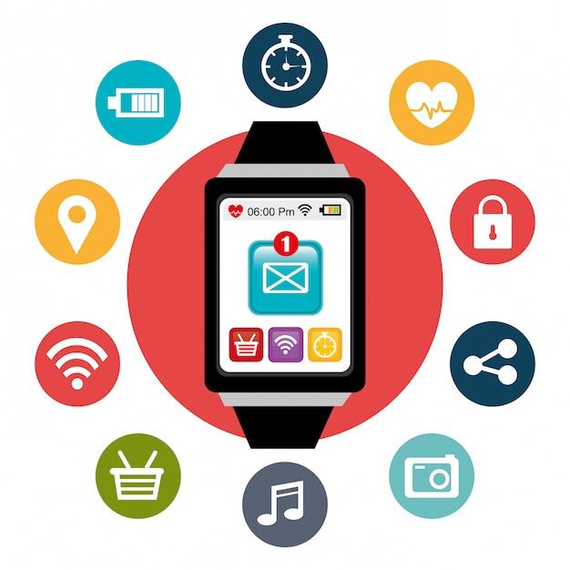 Wearable technology digitales design. Premium Vektoren