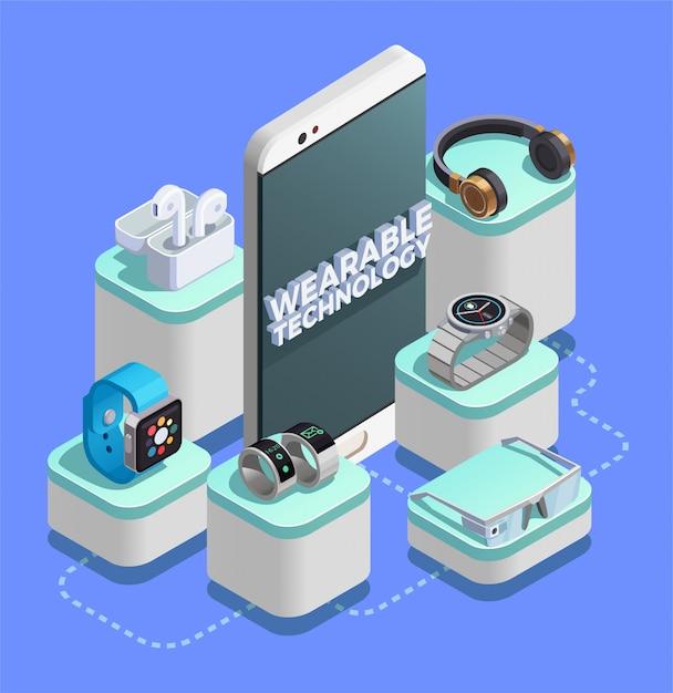Wearable technology isometric composition-farbfeld Kostenlosen Vektoren