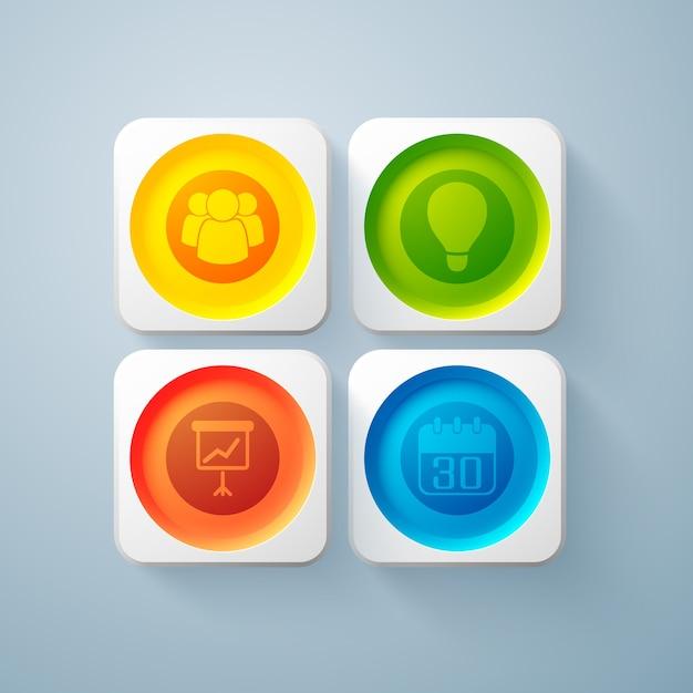 Web abstrakte geschäftselemente mit bunten runden knöpfen in den quadratischen rahmen und in den symbolen isoliert Kostenlosen Vektoren