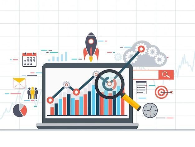 Web analytics informations- und entwicklungsstatistik. Premium Vektoren