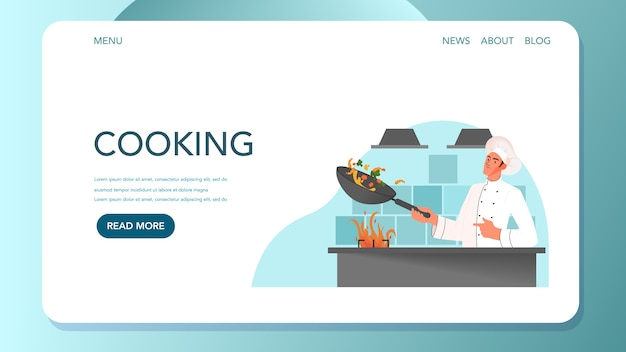 Web-banner für lebensmittellieferung. online-lieferung. männlicher restaurantkoch in der weißen einheitlichen kochmahlzeit auf der küche. koch am herd. Premium Vektoren
