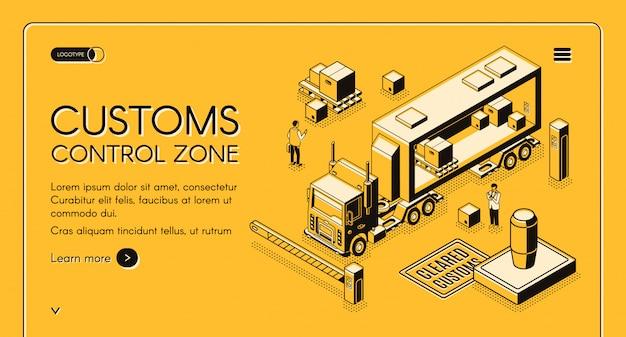 Web-banner mit online-diensten der zollkontrollzone, wobei zollbeamte inspizieren Kostenlosen Vektoren