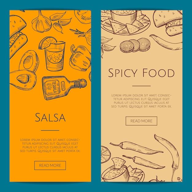 Web-banner oder flyer-vorlage mit skizzierten mexikanischen food-elementen Premium Vektoren