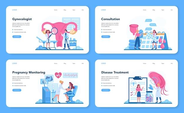 Web-banner oder landingpage-set für gynäkologen, reproduktologen und frauengesundheit. Premium Vektoren