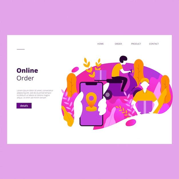 Web-banner-vorlage für online-bestellungen Premium Vektoren