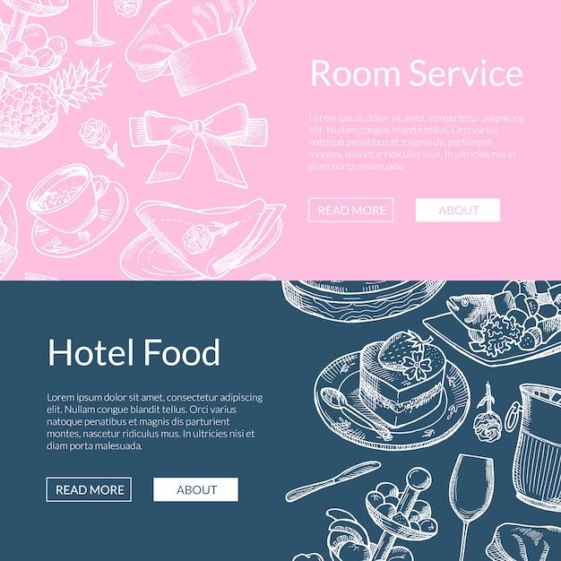 Web-banner-vorlagen mit handgezeichneten restaurant- oder zimmerservice-elementen Premium Vektoren