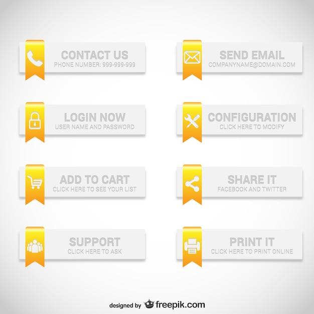Web-buttons eleganten satz Kostenlosen Vektoren