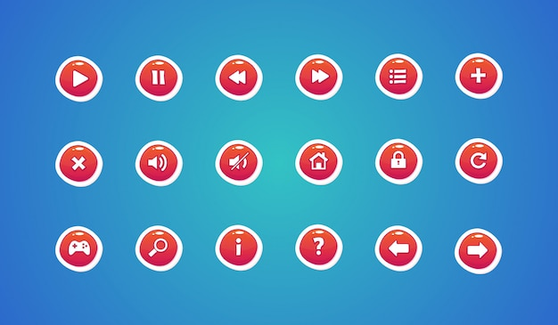 Web buttons, spieldesign buttons Premium Vektoren