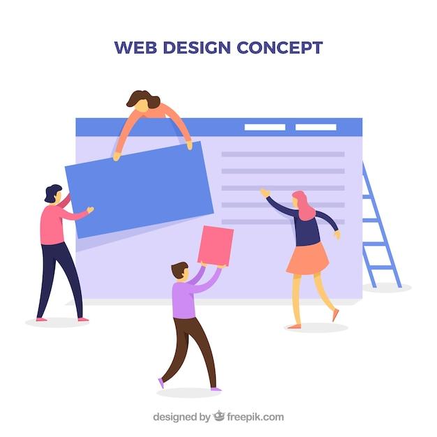 Web-design-konzept mit flachem design Kostenlosen Vektoren