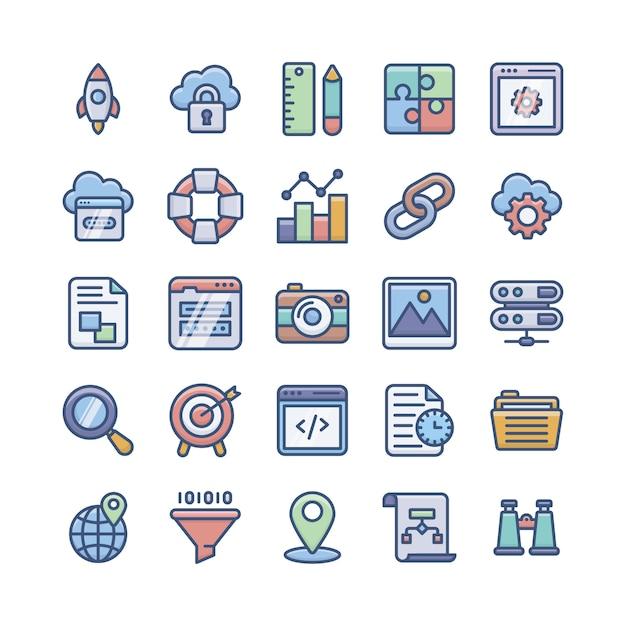 Web development flache icons pack Premium Vektoren