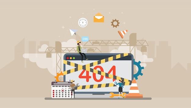 Web development under construction seite tiny people character Premium Vektoren