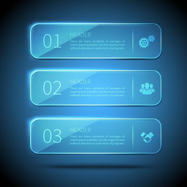 Web-elemente 3 glasplatten für infografik auf blauem hintergrund Kostenlosen Vektoren