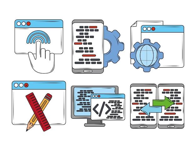 Web-entwicklung digitale software app einstellung seo codierung sprache symbole illustration Premium Vektoren