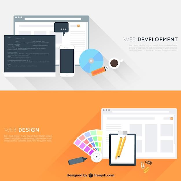 Web-Entwicklung und Design Kostenlose Vektoren