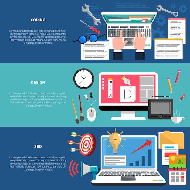 Web-entwicklungs-fahnen-set Kostenlosen Vektoren