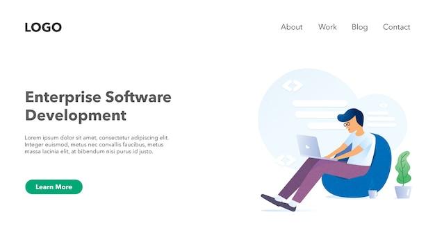 Web-header banner für software-unternehmen website lichtthema Premium Vektoren