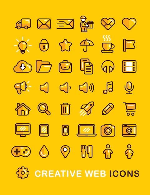 Web icons set lineare flache gliederung stil-ikone. Kostenlosen Vektoren