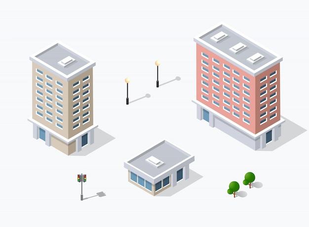 Web-ikone isometrische 3d-stadtinfrastruktur, städtisch Premium Vektoren