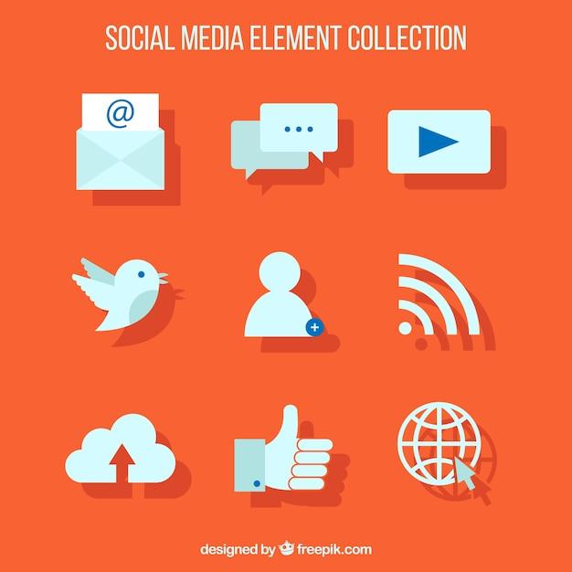 Web-Ikonen auf einem orangefarbenen Hintergrund Kostenlose Vektoren