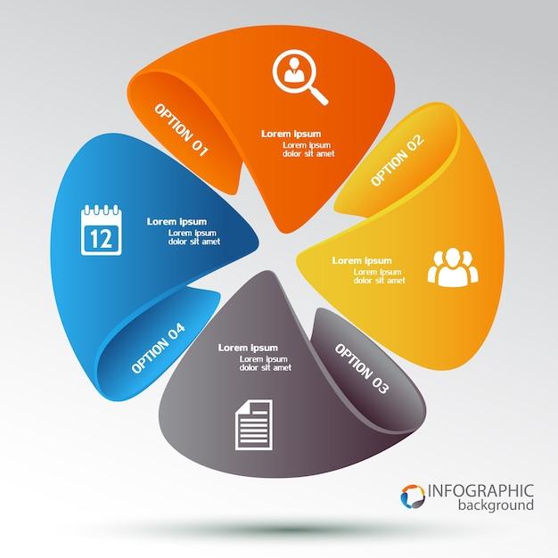 Web-infografik-vorlage mit buntem zyklusdiagramm, vier optionen und symbolen Kostenlosen Vektoren