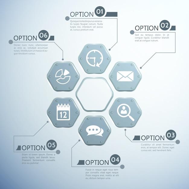 Web-infografik-vorlage mit sechs sechsecken aus metall und weißen symbolen Kostenlosen Vektoren