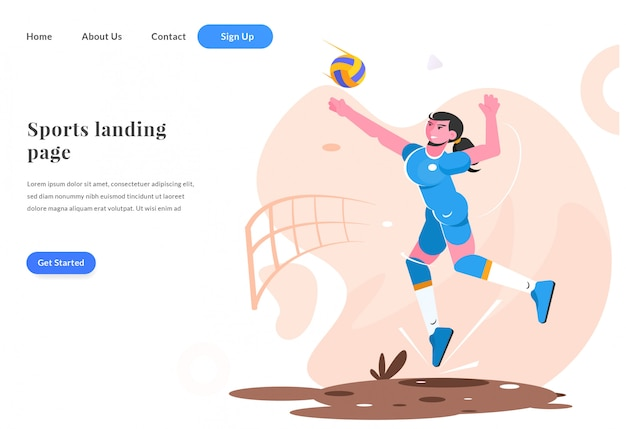 Web landing page frau spielen volleyball Premium Vektoren