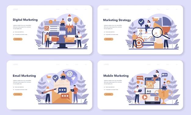 Web-landingpage-set für digitales marketing. unternehmensförderung, kundenkommunikation und produktwerbung über soziale netzwerke. seo, sem. flache vektorillustration Premium Vektoren