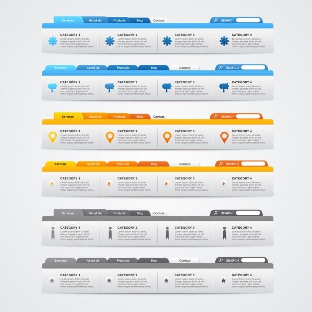 Web-Menü-Vorlage Sammlung | Download der kostenlosen Vektor
