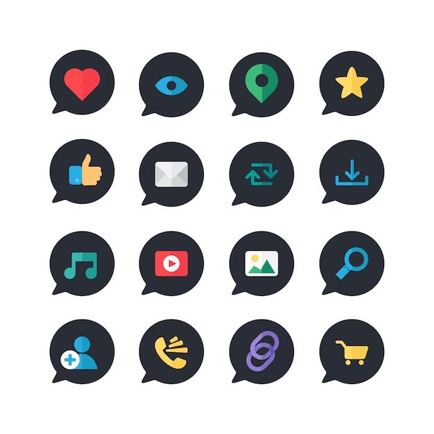 Web online icons für blog und soziale netzwerke Premium Vektoren