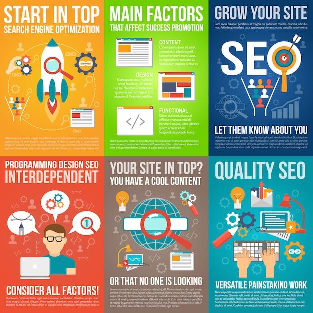 Web-poster-set Kostenlosen Vektoren