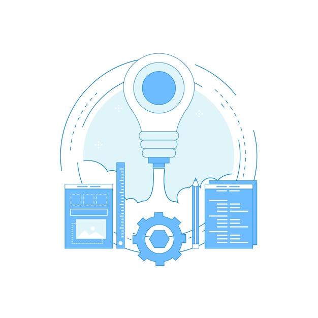 Web-programmierung flache linie Premium Vektoren