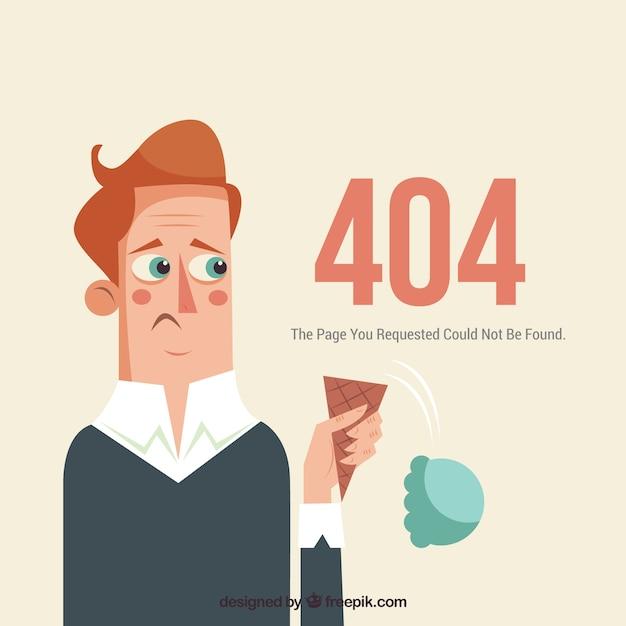 Web-schablone mit 404 fehlern mit traurigem mann Kostenlosen Vektoren