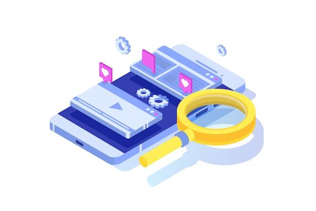 Web seo optimierungsillustrationskonzept isometrisch. landingpage-vorlage. aufkleber für web-banner, webseite, banner, präsentation, soziale medien, dokumente, karten, poster. Premium Vektoren