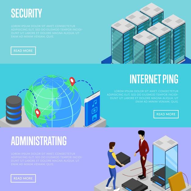 Web-set für daten-cloud-sicherheit und administrations-baner Premium Vektoren