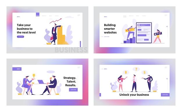 Web software development concept konzept landing page set Premium Vektoren