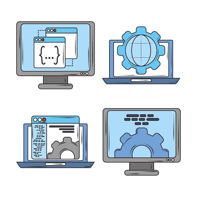Web-software digitale software-programmierung und codierung, laptop-computer bildschirme symbole illustration Premium Vektoren