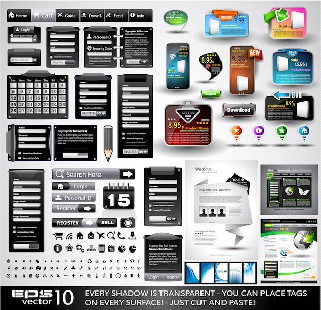 Web stuff schwarz extreme collection Premium Vektoren
