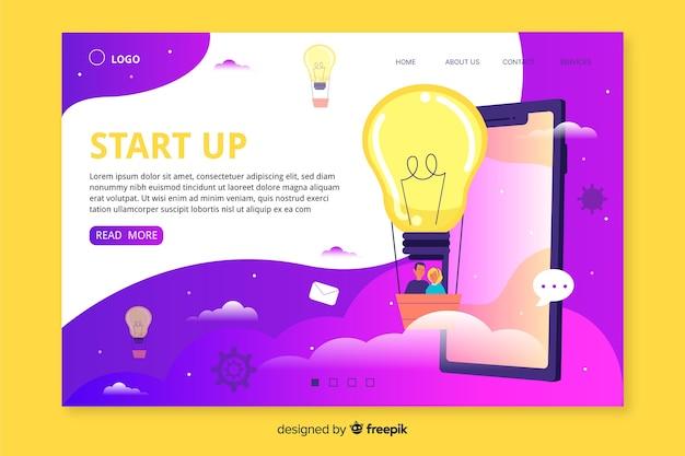 Web template für die start-landing-page Kostenlosen Vektoren