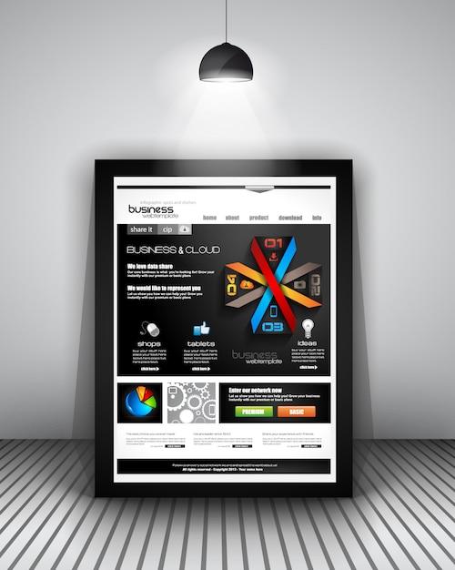 Web template mit infografiken design Premium Vektoren