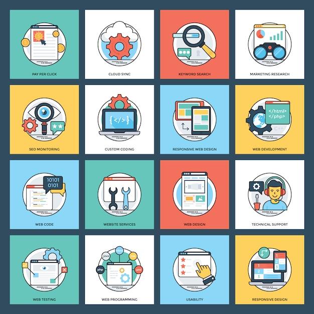 Web- und entwicklungspaket Premium Vektoren
