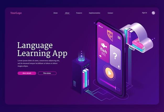 Web-vorlage für sprachlern-app. mobiler online-bildungsdienst, digitales fremdsprachen-training Kostenlosen Vektoren