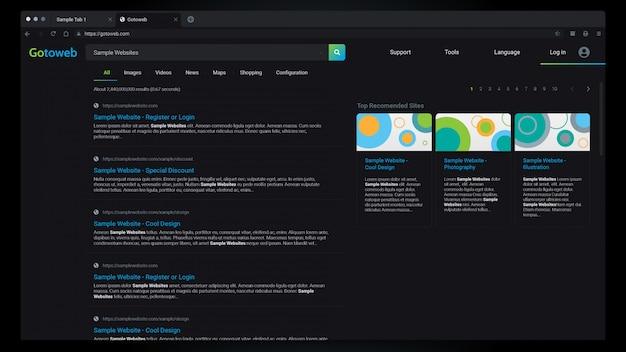 Webbrowser-ergebnisse dark mode interface Premium Vektoren