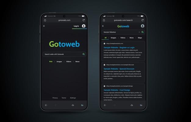 Webbrowser mobile dark mode-oberfläche Premium Vektoren