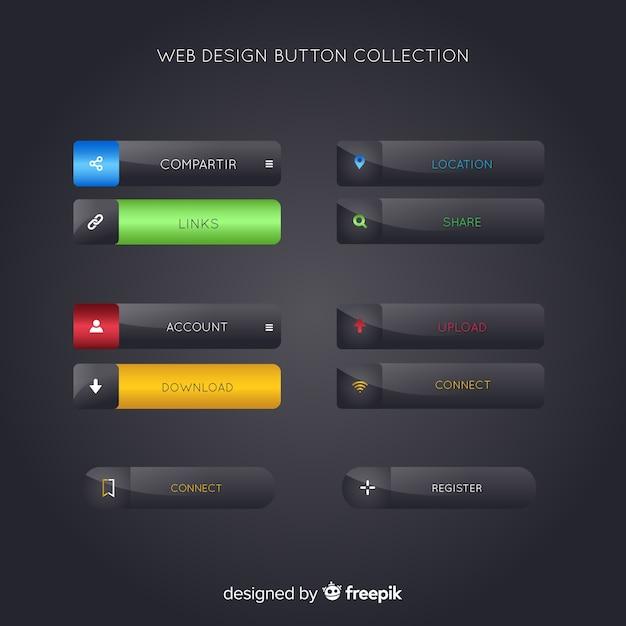 Webdesign-schaltflächensammlung Kostenlosen Vektoren