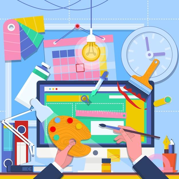 Webdesign und freiberuflich tätige konzeptillustration Premium Vektoren