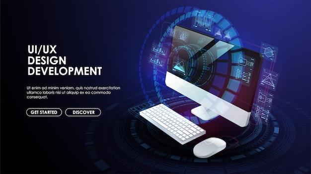 Webentwicklung, anwendung, codierung und programmierung. technologie zum erstellen von software, code für mobile anwendungen. kreative vorlage für web und print. Premium Vektoren