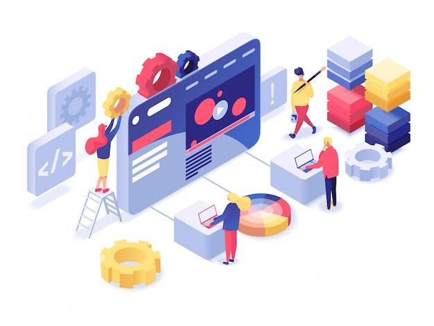 Webentwicklung isometrisch Premium Vektoren
